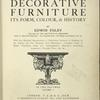 The book of decorative furniture, its form, colour, & history [Title page]