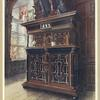 """A cabinet of oak and walnut, with ebony panels and columns, inlaid with rosewood and ivory engraved. Originally in Lochleven Castles, and long known as """"Queen Mary's Aumerie,"""" probably made by French or Flemish craftsmen."""