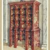 Red and gilt lacquer double chest of drawers. Property of Viscountess Wolseley.