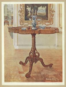 Shaped fret-rimmed gallery table. Chippendale school. By permission of William James, Esq., West Dean, ca. 1745.