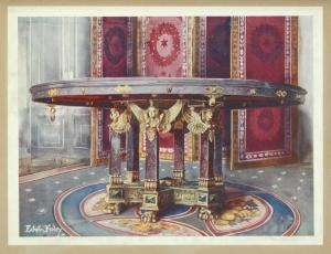 Circular table of various marbles, with chased gilt mounts. French: style of the First Empire. Palace of Fontainebleau. Folding screen (paravent) of carved and gilt wood with silk panels. French: style of the First Empire.