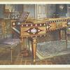 Late eighteenth-century decorative furniture. In the drawing-room of R. W. Hudson, Esq., Park Lane, W. Satinwood and mahogany inlaid pianoforte, with Wedgwood plaques, ormolu mounts, panel and stars, presented by Manuel Godoy to the Queen of Spain in 1796. Painted satinwood chairs and shaped cabinet.