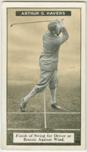Arthur G. Havers: finish of swing for driver or brassie against wind.