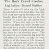 The back crawl stroke; leg action: second position.