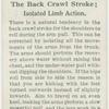 The back crawl stroke; isolated limb action.