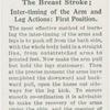 The breast stroke; inter-timing of the arm and leg actions: first position.