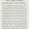 The crawl stroke; arm recovery: first position.