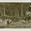 Calling the pack together after a draw.  W.W.H. (Earl Bathhurst's) foxhounds at Summerford Common, Cirencester.