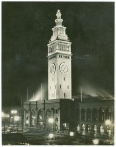 [Ferry Tower, San Francisco, as seen at night]