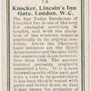 Knocker, Lincoln's Inn Gate, London, W.C.