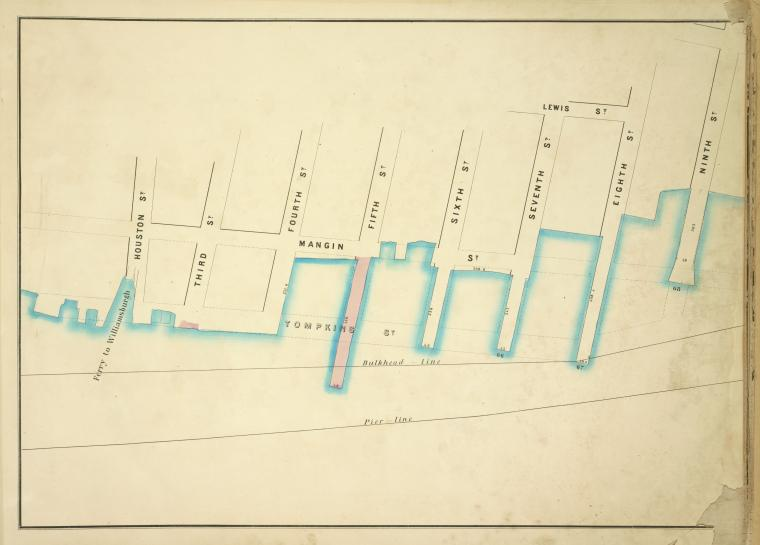 [Map bounded by Mangin St, Lewis St, Ninth St, Pier - Line 66-68, Houston St; Including Tompkins St, Ferry to Williamsburgh, Third St, Fourth St, Fifth St, Sixth St, Seventh St, Eighth St]