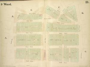 [1st Ward. Plate B: Map bounded by Stone Street, Beaver Street, Hanover Street, Wall Street, South Street, Coenties Slip; Including Pearl Street, Water Street, Front Street, Old Slip, Gouverneurs Lane, Jones Lane]