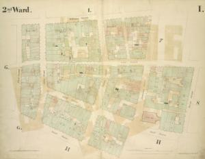 [2nd Ward. Plate: I Map bounded by William Street, Beekman Street, Gold Street, Ferry Street, Cliff Street, Pearl Street, Platt Street; Including Riders Alley, Cliff Street, John Street, Fulton Street]