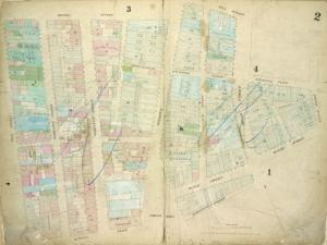 [Plate 2: Map bounded by Rector Street, Wall Street, Broad Street, Exchange Place, William Street, Beaver Street, Marketfield Street, Bowling Green, Battery Place, West Street; Including Edgar Street, Oyster Pastie Lane, Morris Street, Washington Street, Greenwich Street, Broadway, New Street ]