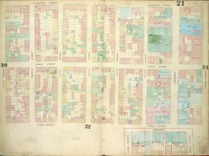 [Plate: 21 Map bounded by W.Houston Street, Crosby Street, Spring Street, Sullivan Street; Including Prince Street, Thompson Street, Laurens Street, Wooster Street, Greene Street, Mercer Street, Broadway; Map bounded by Broadway, Spring Street, Broome Street]