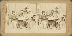 [Three children sharing drinks.]