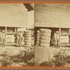 Two plantation workers outside a cotton mill.]