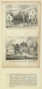 Ferry house, New York, corner of Broad & Garden Sts. Stadt-Huys, New York, built 1602, razed 1700 / lith. Risso & Browne.
