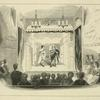 Two figures in Roman costume, on stage ; eighteenth century audience in foreground. Scribbling, including date 1791, on wall on each side. In pencil: India proof. Interior of the old John St. Theatre, N.Y.