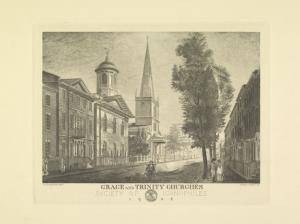 Grace and Trinity Churches / Society of Iconophiles, 1908 ; W. Strickland, pinxt. ; Sidney L. Smith, sc.