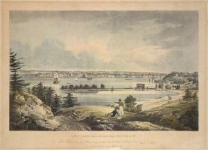 "New York from Heights near Brooklyn / Willm. Wall [artist] ; New York, Bourne, ""Depository of Arts"" ; engraved by I. Hill."
