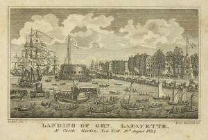 Landing of Gen. Lafayette, at Castle Garden, New-York, 16th August 1824 / Imbert, del. ; Saml. Maverick, sct. ; issued 1826.