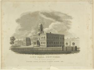City-Hall, New-York / drawn and engraved expressly for the New York mirror, and ladies' literary gazette, 1828 ; drawn by A. J. Davis ; V. Balch, sculpt. ; printed by Wm. D. Smith.