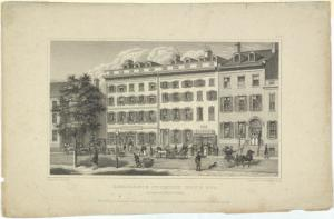 Residence of Philip Hone Esq. and American Hotel, Broadway. New-York / published June 1831 by Peabody & Co., London ; drawn by J. H. Dakin ; engraved by Barnard & Dick.