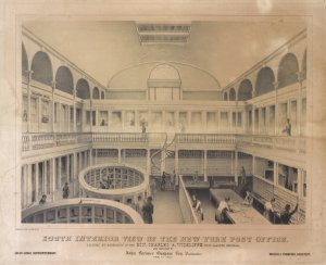 South interior view of the New York Post Office located by authority of the Hon. Charles A. Wickliffe, post master general. And arranged by John Lorimer Graham, Esq. postmaster. Feb. 1st, 1845 / Endicott's lith. 22 John St. N. Y. ; Isaac Lucas, superintendant ; Martin E. Thompson, architect.