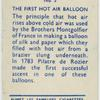 The first hot air balloon.