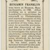 Benjamin Franklin.  Lightning Conductor.