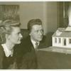 Aetna Exhibit - Miniature house on fire with man and woman looking on