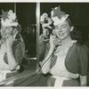 American Telephone & Telegraph Exhibit - Melba Rae Toombs (Miss Treasure Island) on phone