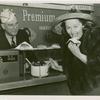 Amusements - American Jubilee - Performers - Monroe, Lucy - Eating hotdog