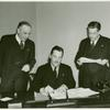 Amusements - Games and Rides - Grover Whalen signing contract for Giant Safety Coaster