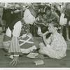 Amusements - Midway Activities - Girl sharing milk with clown