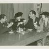 Amusements - Performers and Personalities - Musicians - Guy Lombardo and the Royal Canadians - Having tea with Grover Whalen and two women