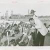 Amusements - Performers and Personalities - Musicians - Guy Lombardo and the Royal Canadians - Eating hot dog and signing autographs