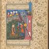 Ibrâhîm (Abraham) rescued from Nimrûd's fire by Jabrâ'îl (Gabriel).