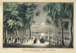 The Battery, New York. By moonlight / lith. & pub. by N. Currier. 152 Nasssau St. cor. of Spruce N.Y. ; entered . . . 1850 . . ..