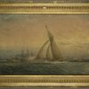 Oil painting marine, off Governors Island, with view of the Fort, racing sloop, frigate, etc.
