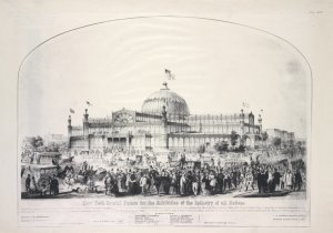New York Crystal Palace for the Exhibition of the Industry of all Nations. . . / lithography of Nagel & Weingärtner 74 Fulton St. N.Y.  ; entered . . .1852, by Theodore Sedgwick . . .; published by Goupil & Co. 289 Broadway New York ; figures by Doepler.