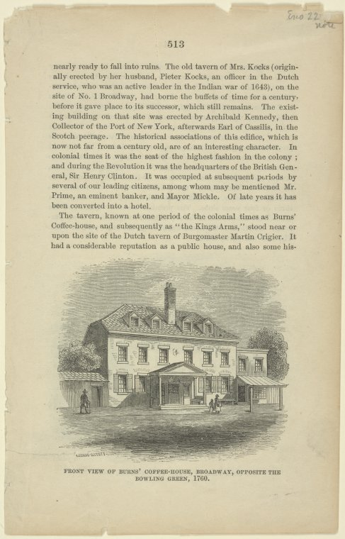 Front view of Burns' Coffee-House, Broadway, opposite the Bowling Green, 1760.