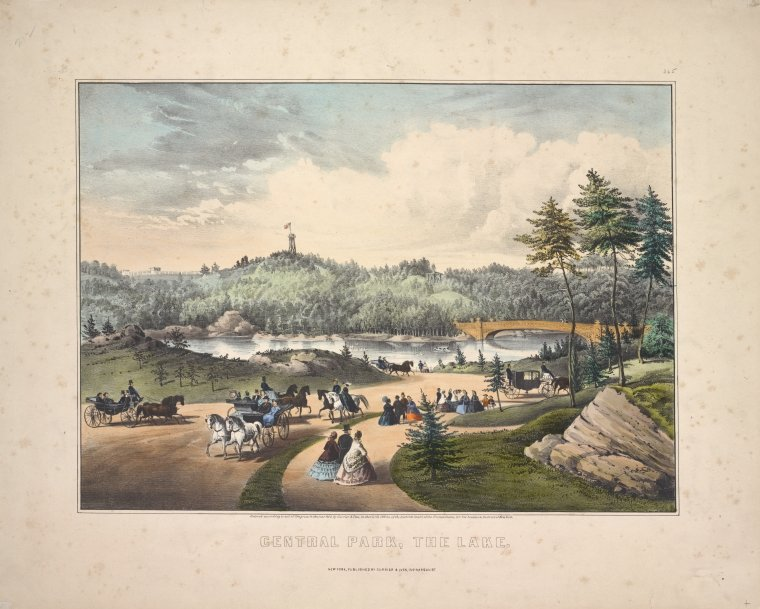Central Park, the lake. New York / published by Currier & Ives, 152 Nassau St. ; entered. . .1862.