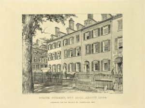 State Street, nos. 16-19, about 1864 / engraved for the Society of Iconophiles, 1907 ; series IX, no. 8 ; engraved by W. M. Aikman ; from a photograph.
