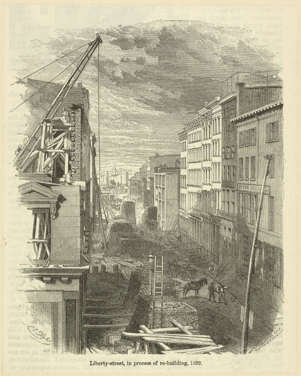 Liberty-street, in process of re-building, 1852 / J. W. Orr ; Doepler.