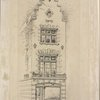 """Pen drawing of a narrow stone building, with Dutch gabled roof, dated """"1903"""" at gable and lettered """"No. 13"""" over store front. """"C. P. H. Gilbert, archt., New York"""""""