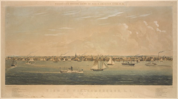 View of Williamsburgh, L.I. From Grand St. N.Y. / drawn from nature by E. Whitefield ; lith. of Endicott & Co. New York ; entered. . .1852, by I. Prindle. . .