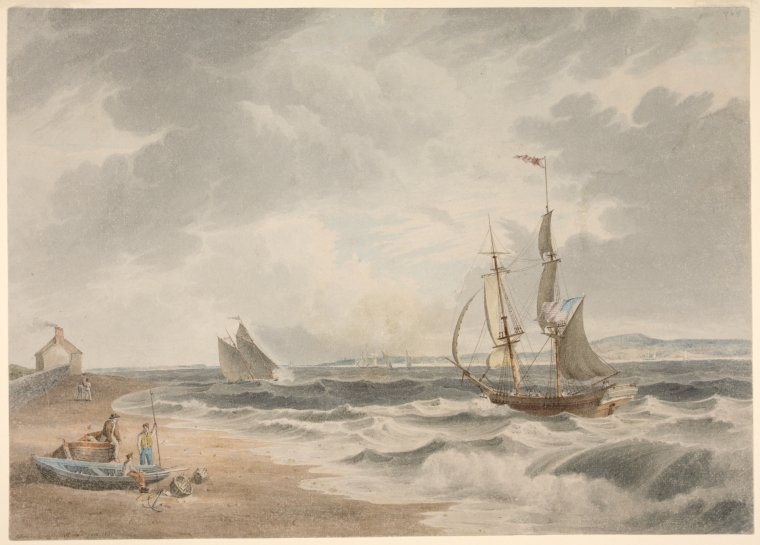 "Type-written label: ""View of the Narrows from Bedloes Island. Fine drawing in water-colours showing numerous ships / drawn by J. W. Hill. New York 1831. . . ."""