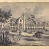 """Original drawings representing residences of prominent people, all with """"Staten Island N.Y."""" on the drawn portion"""